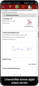 Unterweisungen mobil über Handy durchführen. Digital Unterschreiben