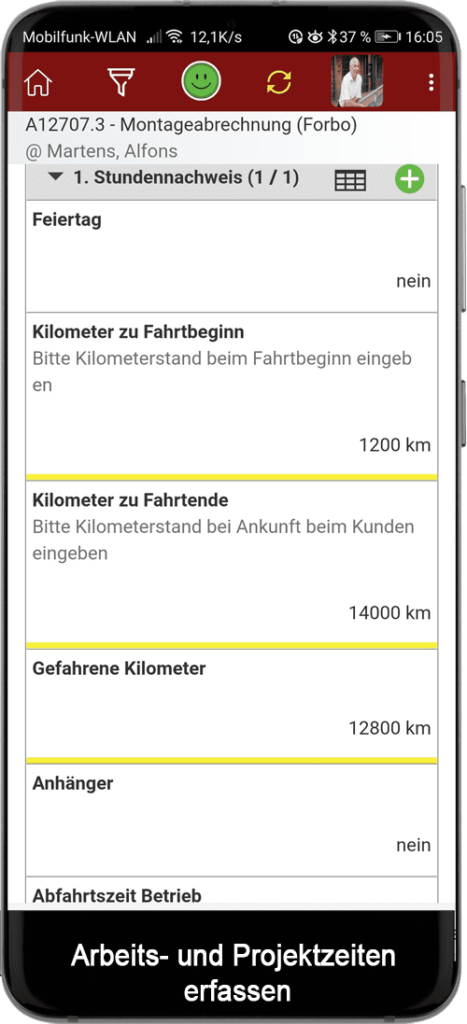 Arbeits- Projektzeiten mobil erfassen